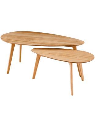 Komplet stolików kawowych Bloom, 2 elem., Nogi: drewno dębowe, Drewno dębowe, Różne rozmiary