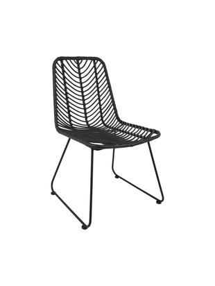 Polyrattan-Stuhl Providencia, Sitzfläche: Polyethylen-Geflecht, Gestell: Metall, pulverbeschichtet, Schwarz, B 44 x T 55 cm