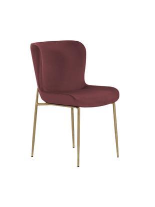 Krzesło tapicerowane z aksamitu Tess, Tapicerka: aksamit (poliester) 5000, Nogi: metal powlekany, Ciemny czerwony, S 48 x W 84 cm