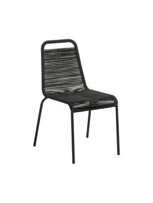 Sedia intrecciata Lambton 2 pz, Seduta: treccia di polietilene, Struttura: metallo verniciato a polv, Nero, Larg. 49 x Prof. 59 cm