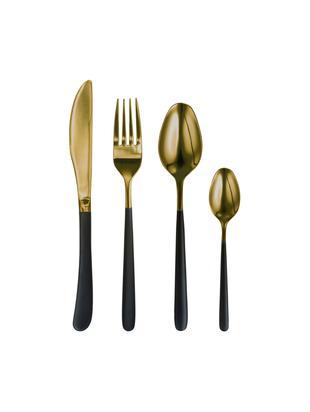 Set 4 posate in oro con manico nero Chiara, Acciaio inossidabile 18/10, Nero, dorato, Lung. 23 cm