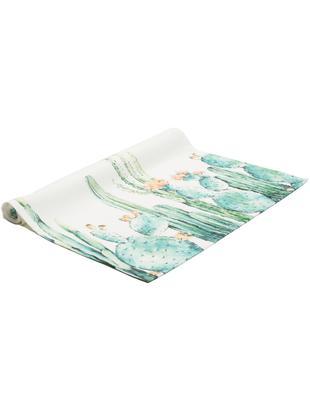 Camino de mesa Prickly, Blanco, tonos turquesa, tonos verdes, naranja, An 50 x L 140 cm