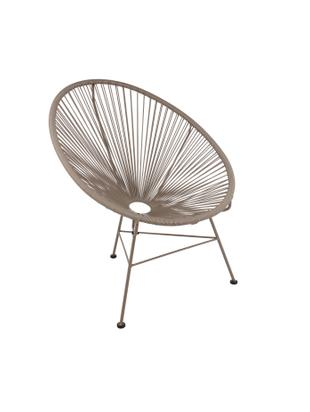 Fotel Bahia, Stelaż: metal malowany proszkowo, Tworzywo sztuczne: taupe Stelaż: taupe, S 81 x G 73 cm