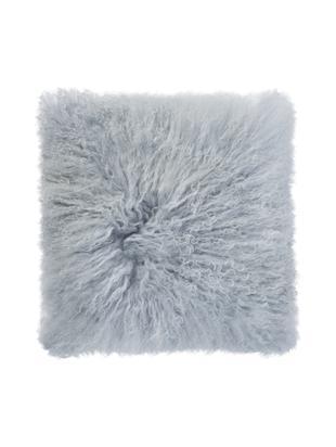 Poduszka ze skóry owczej, z długim włosiem Curly, Jasnoszary, S 35 x D 35 cm