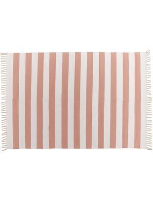 Tappeto a strisce Malte, Cotone, Rosa, bianco latteo, Larg. 140 x Lung. 200 cm (taglia S)