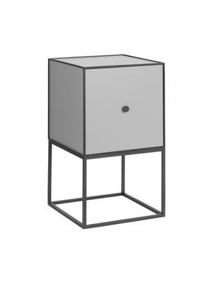 Design Nachttisch Frame, Korpus: Mitteldichte Holzfaserpla, Gestell und Rahmen: Schwarz Korpus: Dunkelgrau, 35 x 63 cm
