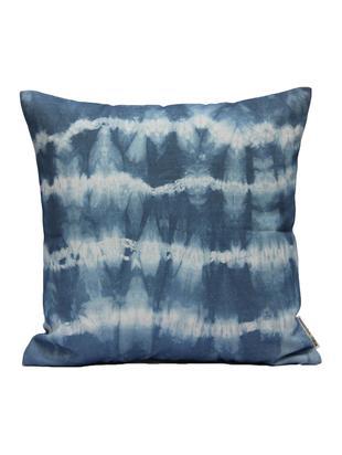 Kissenhülle Victoria mit Batikprint, Baumwolle, Weiß, Blau, 40 x 40 cm