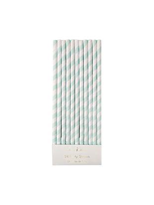 Słomka Agni, 24 szt, Papier, Biały, zielony miętowy, Ø 1 x W 20 cm