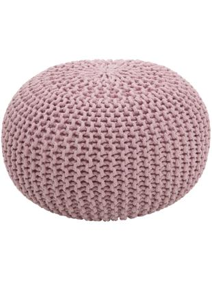 Puf de punto artesanal Dori, Tapizado: 100%algodón, Rosa, Ø 55 x Al 35 cm