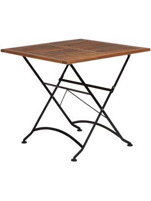 Stół ogrodowy składany z drewnianym blatem Parklife, Blat: drewno akacjowe, olejowan, Stelaż: metal, ocynkowany, malowa, Stelaż: czarny, matowy Korpus: drewno akacjowe, S 80 x W 75 cm