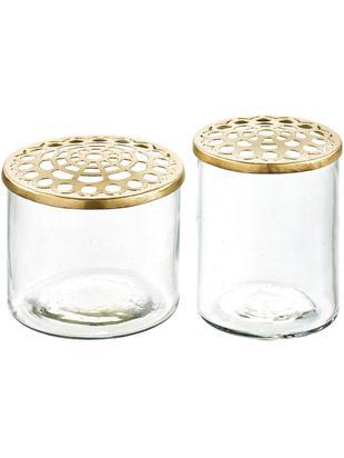 Komplet małych wazonów z metalową pokrywką Kastanje, 2 elem., Wazon: transparentny Pokrywka: mosiądz, Różne rozmiary