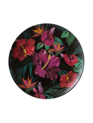 Piatto piano in bambù Tropical Flower, 55% fibra di bambù, 25%  amido di mais, 15% melamina, Verde, color fucsia, rosso, bianco, Ø 25 cm