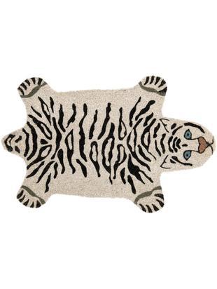 Zerbino in cocco White Tiger, Fibra di cocco, Bianco latteo, nero, Larg. 45 x Lung. 70 cm