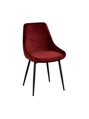 Krzesło tapicerowane z aksamitu Sierra, 2 szt., Tapicerka: aksamit poliestrowy 1000, Nogi: metal lakierowany, Czerwony, czarny, S 49 x G 55 cm