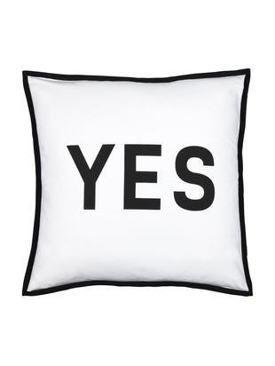 Cuscino con scritta e imbottitura Decision, Cotone, Nero, bianco, Larg. 45 x Lung. 45 cm