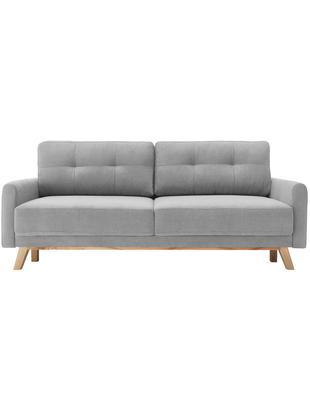Samt-Schlafsofa Balio (3-Sitzer), Bezug: 100% Polyestersamt, Rahmen: Massivholz und Spanplatte, Samt Hellgrau, B 216 x T 86 cm