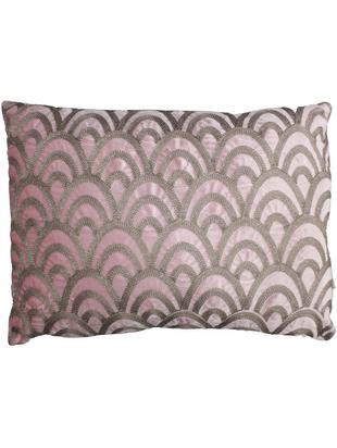 Geborduurd fluwelen kussen Trole, met vulling, Fluweel, Roze, zilverkleurig, 40 x 60 cm
