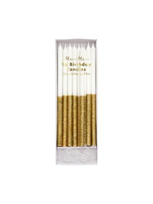 Taartkaarsenset Dippy, 32-delig, Paraffinewas, kunststof, Wit, goudkleurig, Ø 1 x H 15 cm