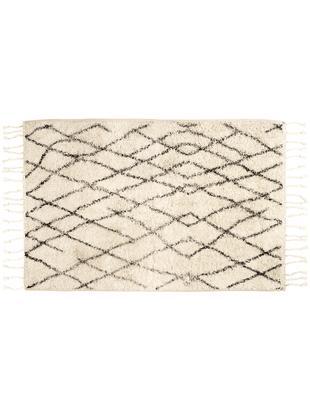 Flauschige Badematte Beth mit Quasten, rutschfest, Flor: Baumwolle, Creme, Grau, 60 x 90 cm