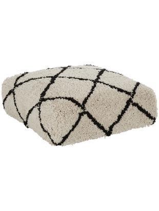 Cuscino da pavimento trapuntato a mano Naima, Rivestimento: poliestere, Beige, nero, Larg. 70 x Alt. 20 cm
