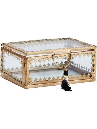 Aufbewahrungsbox Tinka, Rahmen: Metall, vermessingt, Messingfarben, 9 x 4 cm