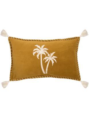 Kissenhülle Bali mit Palmen-Stickerei und Quasten, 50% Baumwolle, 50% Polyester, Senfgelb, Weiß, 30 x 50 cm