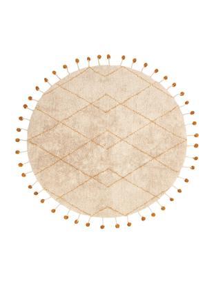 Runder Teppich Tanvi, Baumwolle, Beige, Orange, Ø 135 cm (Größe M)