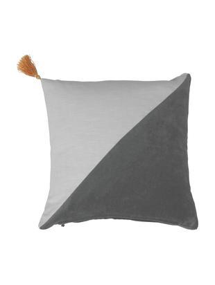 Poduszka z aksamitu Shadow, Tapicerka: 48%Rami (Bastfaser), 2%, Antracytowy, jasnoszary, S 45 x D 45 cm