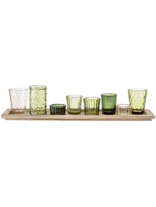 Set de portavelas Wibke, 9pzas., Portavelas: vidrio, Bandeja: madera de Paulownia, Tonos verdes, bayo, An 50 x Al 11 cm