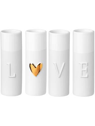 Komplet wazonów z porcealny Love, 4 elem., Porcelana, Wazon: złamana biel  Relief serca: odcienie złotego, Ø 3 x W 9 cm