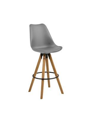 Barstühle Dima, 2 Stück, Sitzschale: Polyurethan, Bezug: Polyester, Beine: Gummibaumholz, geölt, Sitzschale: Grau<br>Beine: Gummibaumholz<br>Fußstütze: Schwarz, 49 x 112 cm