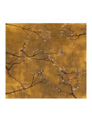 Fototapete Chinese Spring, Vlies, Gelb- und Brauntöne, Weiß, Schwarz, 300 x 280 cm