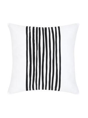 Kissenhülle Corey mit Streifen in Schwarz/Weiß, Baumwolle, Schwarz, Weiß, 40 x 40 cm
