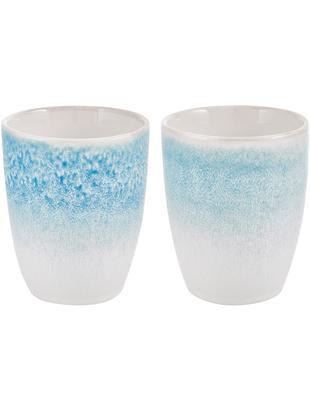 Ręcznie wykonany kubek Amalia, 2 szt., Ceramika, Jasny niebieski, kremowy, Ø 10 x W 11 cm