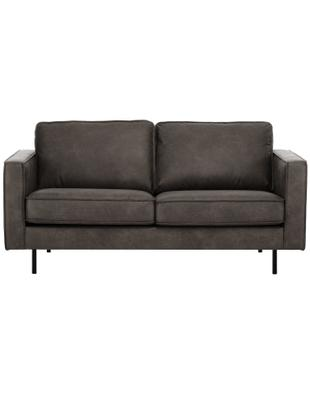 Leder-Sofa Hunter (2-Sitzer), Bezug: 70% recyceltes Leder, 30%, Gestell: Massives Birkenholz und h, Füße: Metall, pulverbeschichtet, Leder Braungrau, B 164 cm x T 90 cm