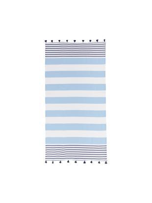 Gestreepte hamamdoek Pytris met kwastjes, Katoen Zeer licht materiaal, 185 g/m², Lichtblauw, donkerblauw, wit, 95 x 175 cm
