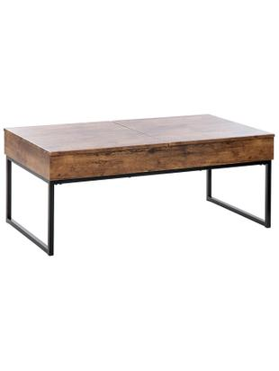 Mesa de centro Manuela, Patas: acero inoxidable, Tablero: fibras de densidad media, Marrón, negro, An 110 x Al 45 cm