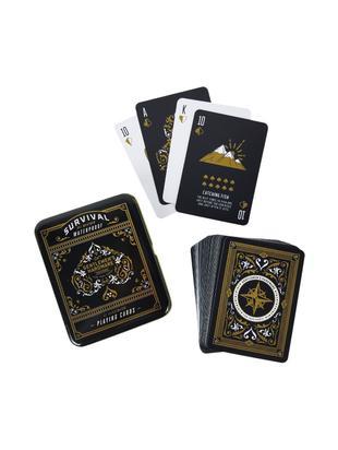 Komplet do gry w karty, Pudełko: czarny, biały, odcienie złotego Karty: czarny, biały, odcienie złotego, S 11 x W 2 cm