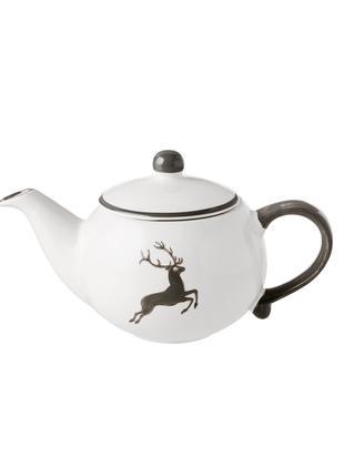 Teekanne Classic Grauer Hirsch, Keramik, Grau,Weiß, 500 ml