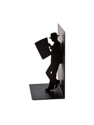 Sujetalibros The Reader, Metal pintado, Negro, An 10 x Al 17 cm