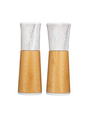 Solniczka i pieprzniczka z imitacji marmuru Dyta, 2 elem., Drewno bambusowe, marmur, ceramika, Drewno bambusowe, biały, marmurowy, Ø 6 x W 18 cm