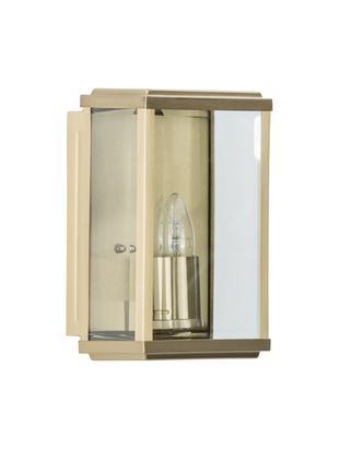 Zewnętrzny kinkiet industrial Wally, Stal szlachetna, mosiądzowana ze szklaną wkładką, Mosiądz, antyczny, transparentny, S 16 x W 25 cm