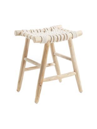 Stołek boho Edgard, Nogi: drewno tekowe, naturalne, Drewno tekowe, biały, S 45 x H 45 cm