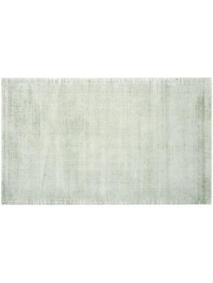 Handgeweven viscose vloerkleed Jane, Bovenzijde: 100% viscose, Onderzijde: 100% katoen, Mintgroen, 90 x 150 cm