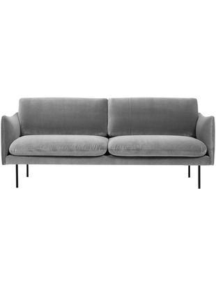 Samt-Sofa Moby (2-Sitzer), Bezug: Samt (Hochwertiger Polyes, Gestell: Massives Kiefernholz, Füße: Metall, pulverbeschichtet, Samt Grau, B 170 x T 95 cm