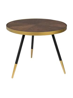 Okrągły stolik kawowy Denise, Blat: płyta pilśniowa (MDF), fo, Drewno jesionowe, odcienie złotego, Ø 61 x W 40 cm