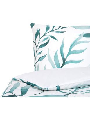 Parure copripiumino reversibile in percalle Francine, Tessuto: percalle, Fronte: verde, bianco Retro: bianco, 155 x 200 cm