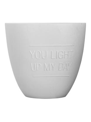 Portavelas Light, Porcelana, Blanco, Ø 7 x Al 8 cm