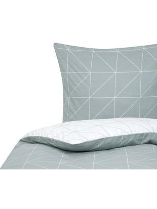 Renforcé-Wendebettwäsche Marla mit grafischem Muster, Webart: Renforcé Fadendichte 144 , Grau, Weiß, 135 x 200 cm