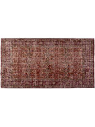 Tappeto vintage da interno-esterno Tilas Izmir, Rosso scuro, giallo senape, kaki, Larg. 80 x Lung. 150 cm (taglia XS)